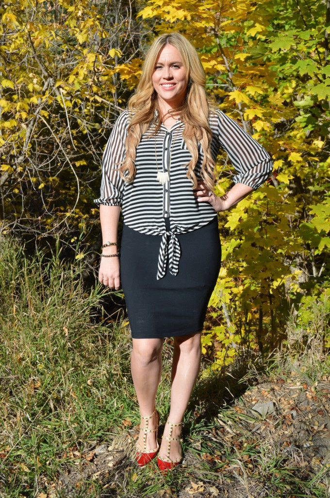 I love this striped blouse and red studded flats!