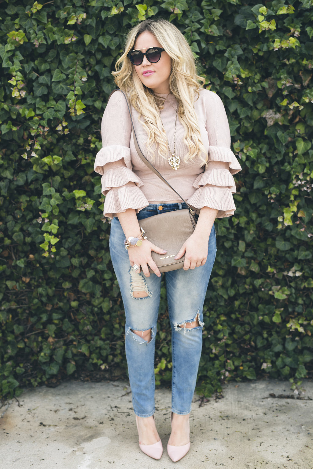 Blush Ruffle Sweater xx Shein graphic