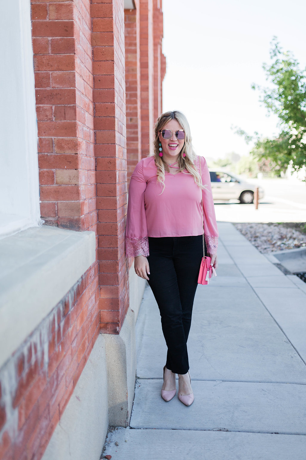 Pink Lace Bell Sleeve Top graphic