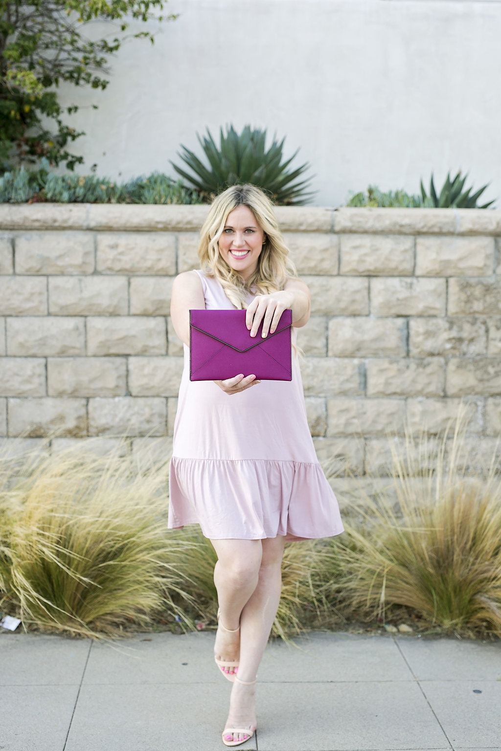 Lavender Peplum Hem Maternity Dress graphic