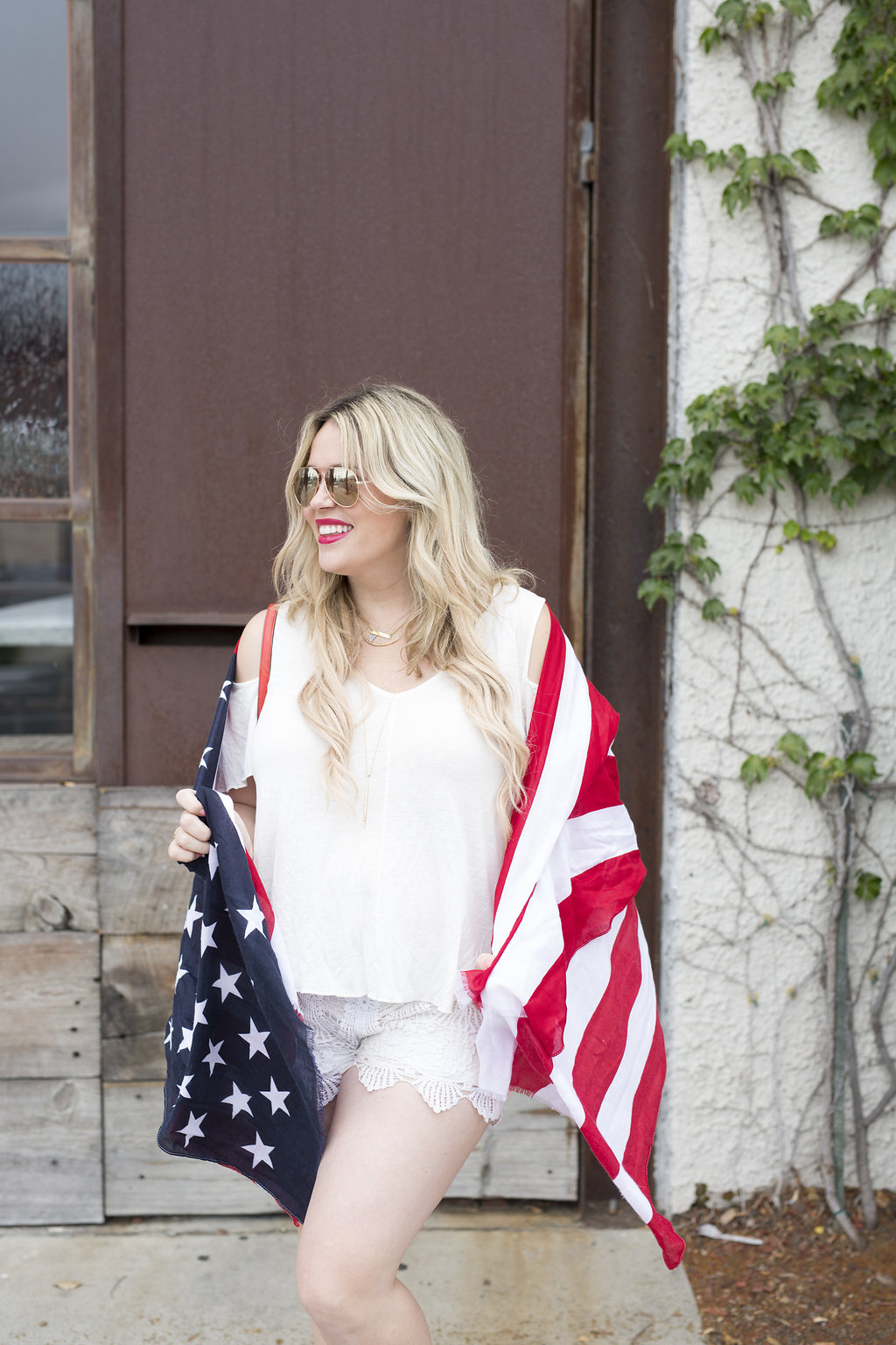 White Out + Flag Scarf Americana graphic