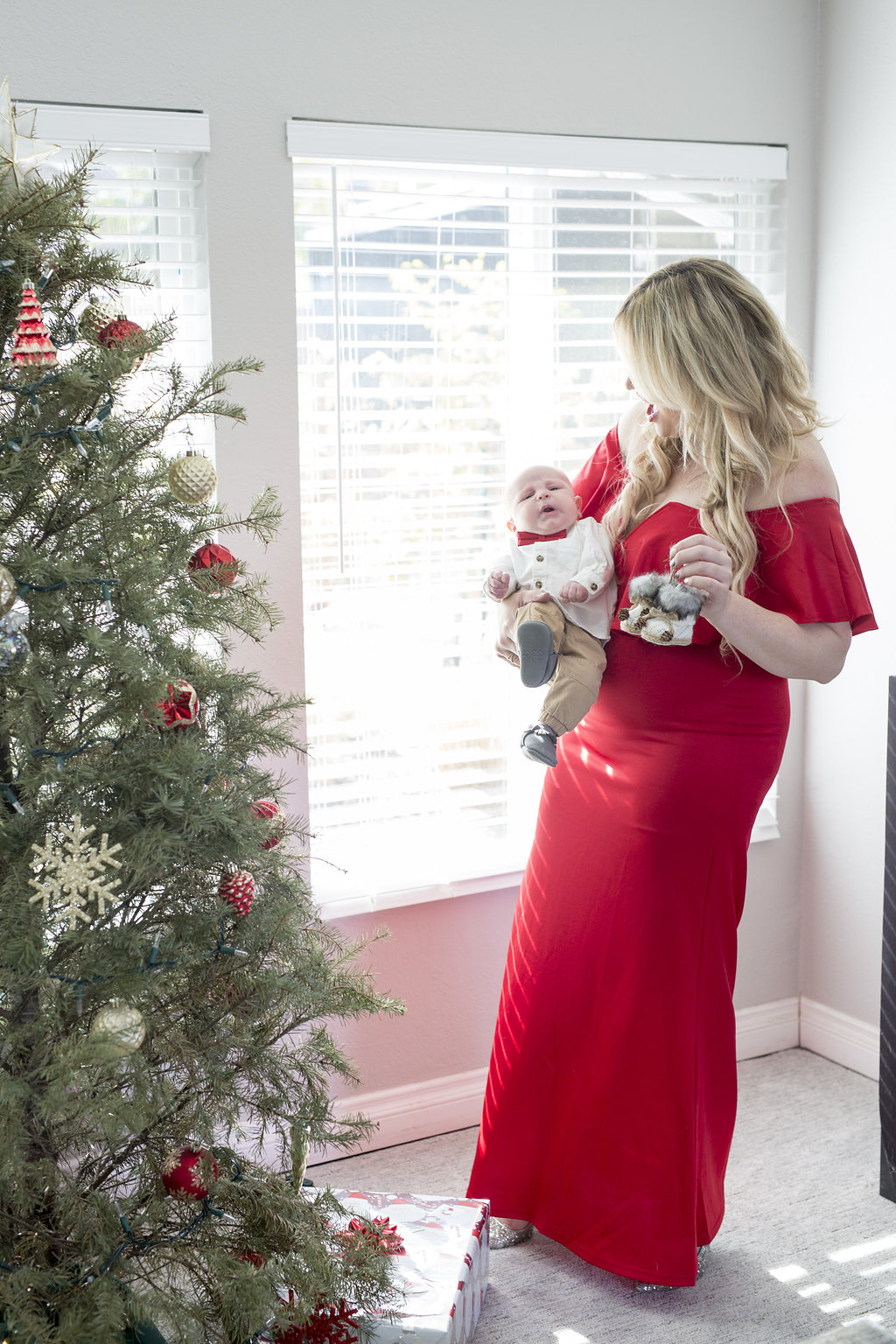 Jax's First Christmas Ornament + Holiday Red Dress graphic